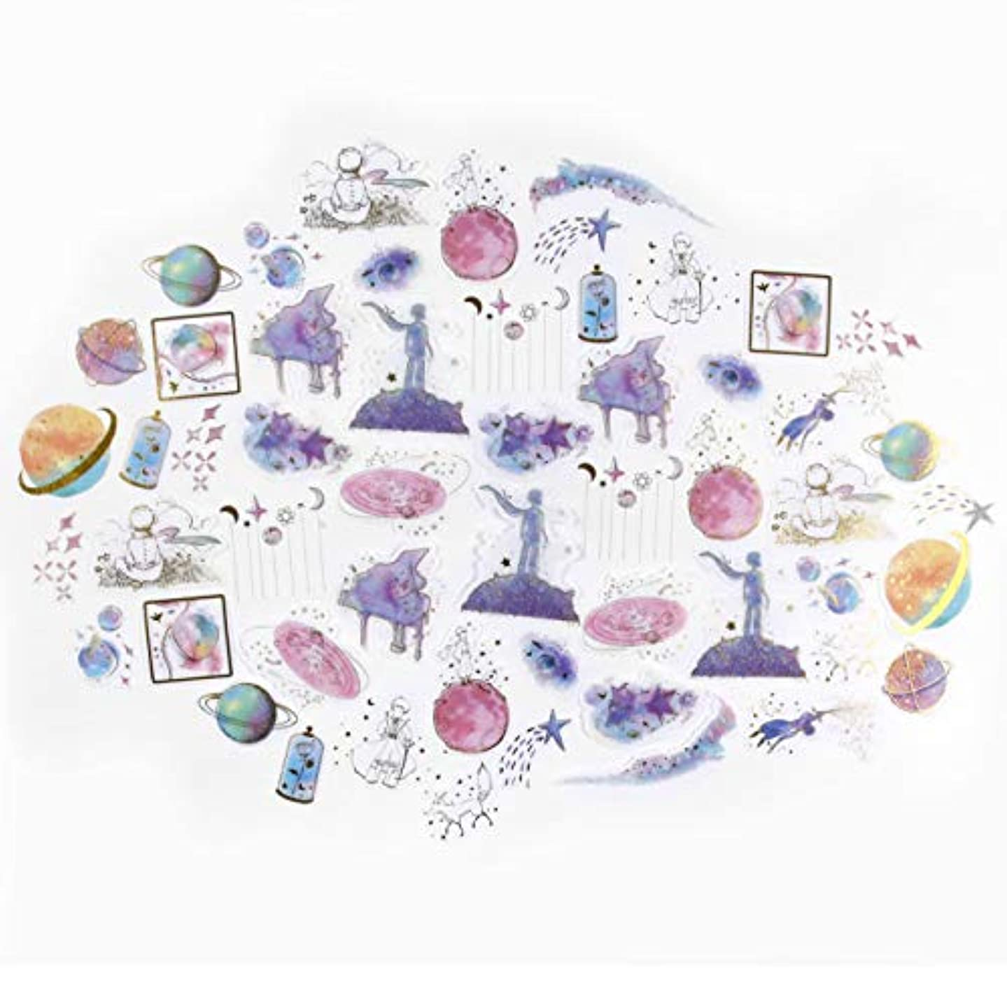 DIY Decorative Sticker, Girl Praying Series hot Stamping Silver Sticker Bag Series Washi Sticker for Diary Album Notebook Scrapbook Lifelog Cute Stationery Sticker, Pack of 60pc (#1)