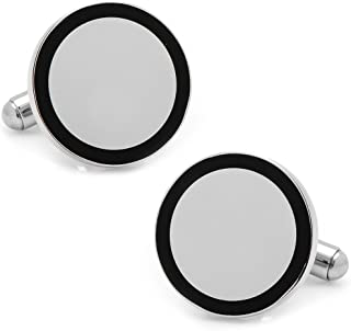 Ox and Bull Mens Stainless Steel Round Engravable Framed Cufflinks (Silver)