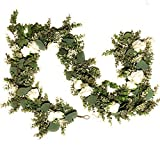 6 ft Artificial Seeded Eucalyptus Garland with White Roses Silk Flower Garland Eucalyptus Leaves Greenery Garland Vines Wedding Arch Decoration Hanging Flower Garland Decor Faux Flora
