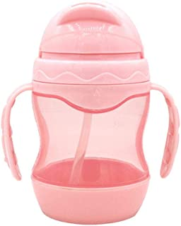 Hamkaw Straw Sippy Cup with Handles Leakproof Baby Straw Cup 240ml for Toddlers (Pink)