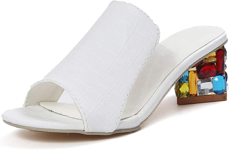 Eora-2sl Women High Heels Peep Toe Ladies Party shoes Rhinestone Chunky Heel Female Slippers Outdoor Women shoes