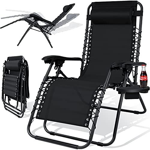 KESSER® - Sonnenliege Liegestuhl Mit Getränkehalter | Verstellbar Rückenlehne | abnehmbares...