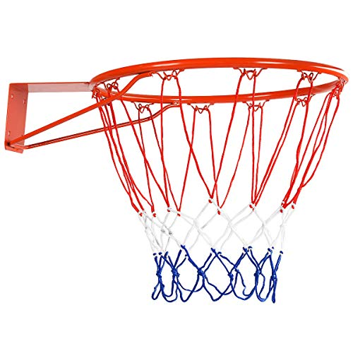 DREAMADE Basketballkorb mit Netz, Hängender Basketballring aus Stahl & Nylonseil, Standard Rim Ø 45 cm, Tür- und Wandmontage, Wetterfest für Indoor & Outdoor, für Erwachsene & Kinder