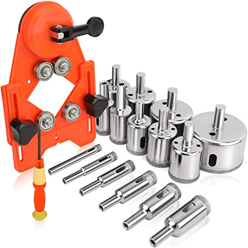 Rokrou Diamond Drill Bit Tile Hole Saw Set 15 PCS Diamond Hole Saw Kit with Drill Guide from 6mm-50mm for Ceramic,Glass,Porcelain,Marble