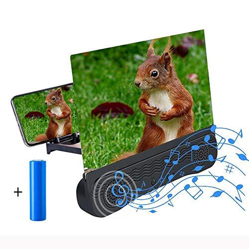 ZOYIDOUX 6D 12' Amplificador de Pantalla para movil con Altavoz Bluetooth, Pantalla del Lupa HD de 12 Pulgadas Zoom 2-3 Veces, Protección para los Ojos para Ver Videos y Películas