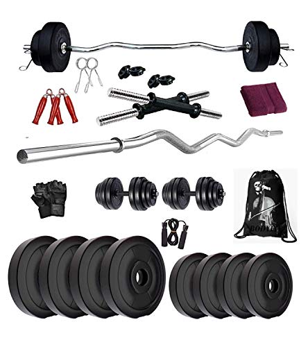 BODYFIT Home Gym Combo Set, Gym Equipments, [8 kg-52 kg] with 3 Ft Curl Rod + 1 Pair of Dumbbell Rod with PVC Dumbbell Plates, Exercise Set, Home Gym Kit with Gym Bag (8KG Combo Set)