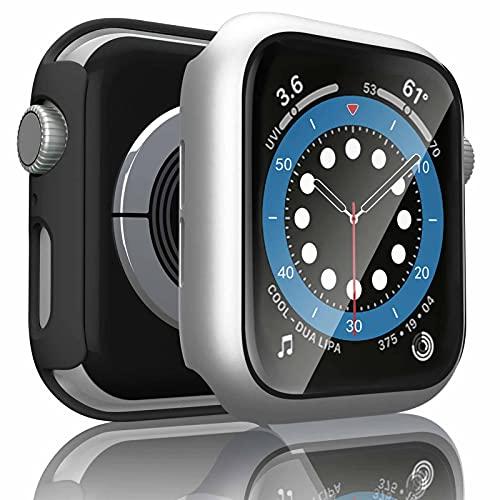 Wanme 2 Pack Funda Compatible con Apple Watch 44mm Serie 6/SE/5/4, PC Case y Vidrio Protector de Pantalla Integrados, Protección Completo Anti-Rasguños (44mm Negro+Plata)