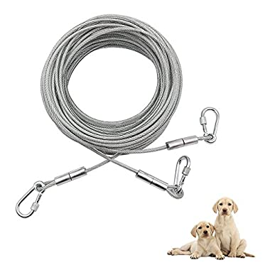 Two Dogs Tie Out, 50 Ft Heavy Duty Double Dog Run System Trolley Lead for Two Large Breeds, Dog Runner for Yard, Camping, Outdoors, 2 Dog 2 Leash