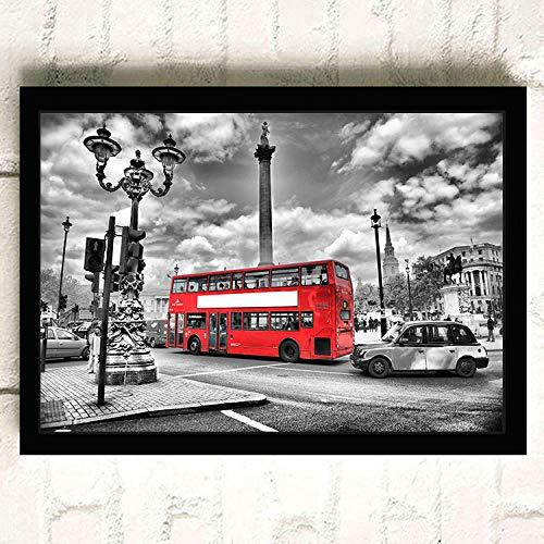 DIY Pintar por números 40x50cm Decoración de la Pared de impresión del dormio London Street Lienzo de Pared Arte de la Pared Imagen Paisaje de la Ciudad Cartel en Blanco y Negro Big Ben Red Bus pi