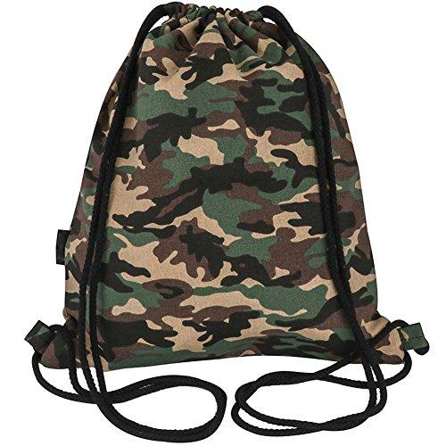 Peicees Drawstring Backpack Canvas Gymsack Drawstring Bag Sport Sackpack Travel School Backpack for Men Women Boys and Girls(Camo)