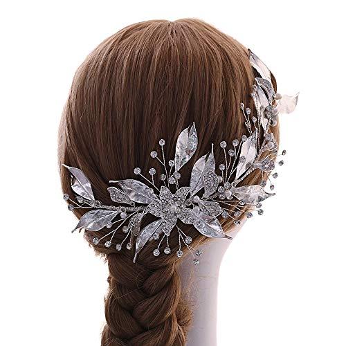 Azaleas haarband voor bruiloft legeringsblad haaraccessoires voor bruidskapsels haarkrans (HP299) Eén maat zilver