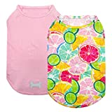 kyeese 2 Pack Dogs Shirts Quick Dry Lightweight Dog T-Shirts with Reflective Label Tank Top Sleeveless Dog Vest for Small Dogs Lemon Pattern Great for Summer