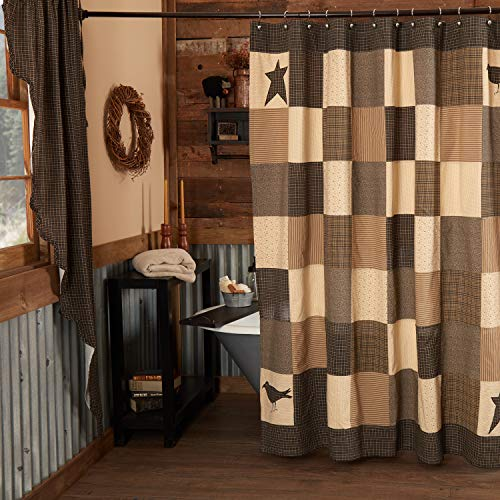 VHC Brands Kettle Grove Shower Curtain 72x72 Primitive Country Patchwork Design, Country Black and Creme