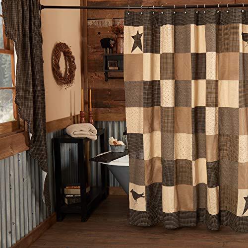 VHC Brands Primitive Bath Prim Grove Button Holes Hooks Cotton Appliqued Star Shower Curtain, 72 x 72, Country Black