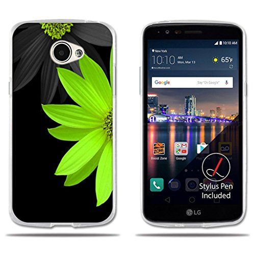 fubaoda LG K5/Q6/X220ds Hülle, [Half Green Chrysanthemum] Transparente Silikon TPU Anti-Scratch Smart Schutz Slim Fit Shockproof Flexible 3D zeitgenössischen Chic Design Protector für LG K5/Q6/X220ds