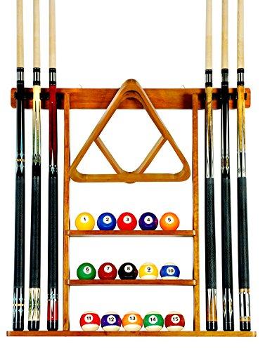 Iszy Billiards Cue Rack Only - 6 Pool Cue - Billiard Stick Wall Rack Made of Wood Oak Finish