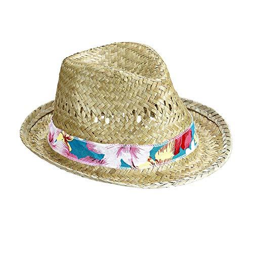 Widmann 14231 - Strohhut Beach Boys, mit buntem Hutband, Sonnenhut, Kopfbedeckung, Sommerfest, Beach Party, Motto Partys, Karneval
