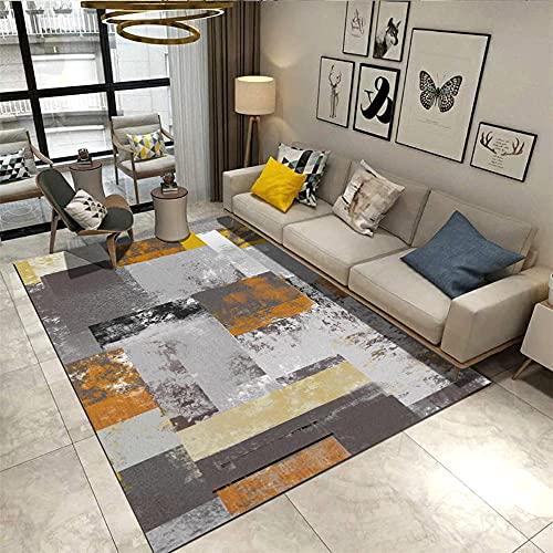 recibidor Moderno alfombras Alfombra de la Sala de Estar del Estilo de la Pintura al óleo geométrica de la Tinta Gris marrón Amarilla alfombras Decoraciones para Habitaciones 80*160cm
