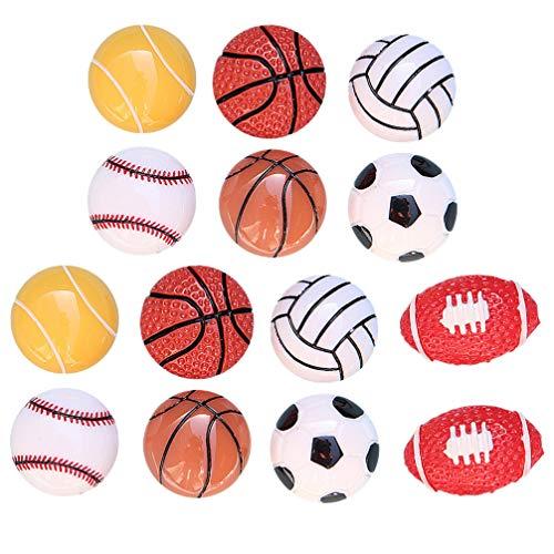 NUOBESTY 14 Piezas Bola Deportiva Encantos Cabujón Cuentas de Resina Plana DIY Baloncesto Fútbol Pelota de Tenis en Forma de Pendiente Joyería Hacer Pasadores de Pelo Accesorios Planos