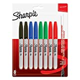Sharpie 1986439 - Rotuladores permanentes, punta fina, paquete de 8, colores surtidos estándares