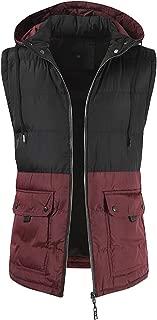 Men Winter Sleeveless Puffer Vest Removable Hood Warm Jacket