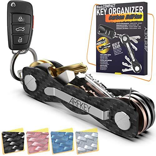 Carbon Fiber Key Organizer - Premium Heavy Duty Compact Key Holder up to 20 Keys - Multifunctional Sim & Bottle Opener + Video Instructions