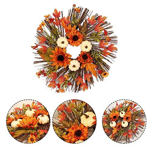 HAOCAI Künstlich Halloween Dekoration Girlande 177 Zoll Weiß Kürbis Sonnenblume Kranz mit Ahorn Blatt für Thanksgiving Herbst Ernte Festival Dekoration