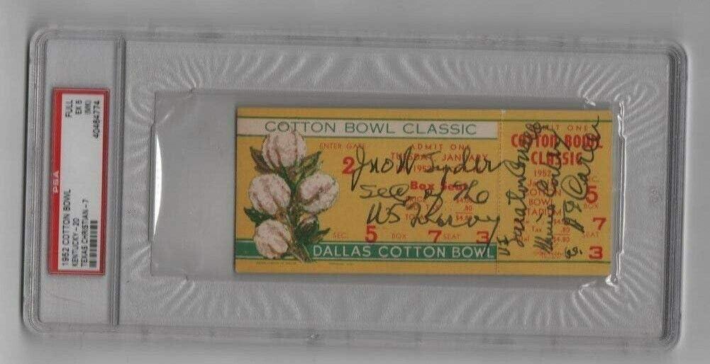 Chicago Long Beach Mall Mall 1952 Cotton Bowl Full Ticket Kentucky 47 Horned TCU PSA Frogs v