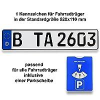 1 Fahrradträger-Kennzeichen reflektierend und DIN-zertifiziert aus dem Material Aluminium außerdem ist eine Parkscheibe   Parkuhr im Lieferumfang inklusive. Die Parkscheibe ist aus Karton und UV-beständig das Kennzeichen hat die gleiche Qualität wie ...