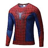 【ec-drive】スパイダーマンTシャツ 3Dプリント おもしろ 着圧 スポーツ 吸汗速乾 (長袖, M)