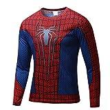 【ec-drive】スパイダーマンTシャツ 3Dプリント おもしろ 着圧 スポーツ 吸汗速乾 (長袖, S)
