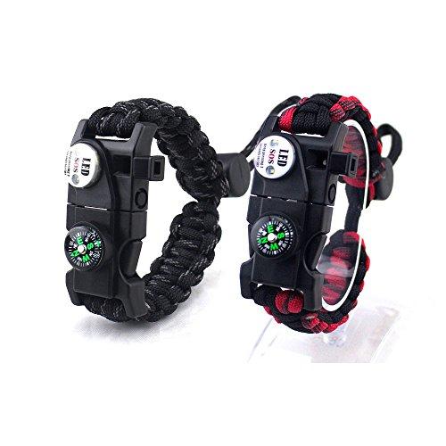 Survival Paracord Bracelet avec Sifflet Allume-feu Boussole SOS LED Light Boucle Réglable Imperméable à l'eau pour L'Aventure De Randonnée Camping First Aid (Paquet de 2),Multi-Colored