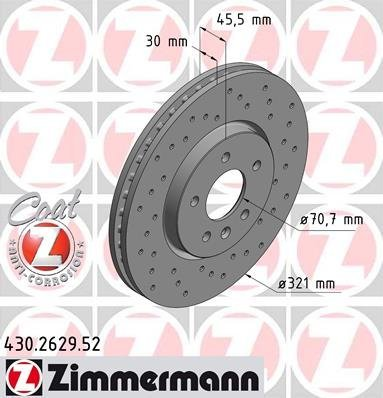 ZIMMERMANN 430.2629.52 Bremsscheibe Scheibenbremsen, Bremsscheiben (x2)