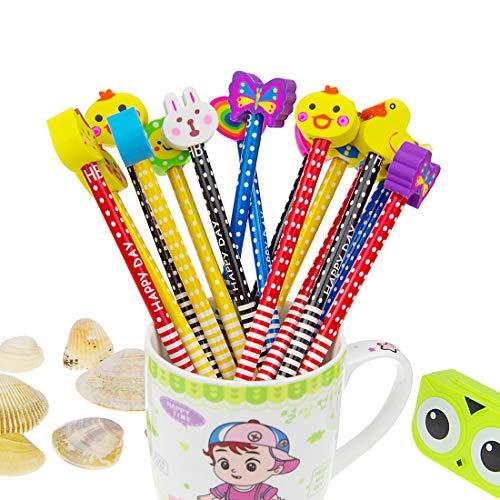 Conjunto de lápiz de dibujos animados, 40 piezas de lápiz de madera con lápices de color grafito de goma con borradores, material escolar Regalo de los niños, para fiesta de cumpleaños