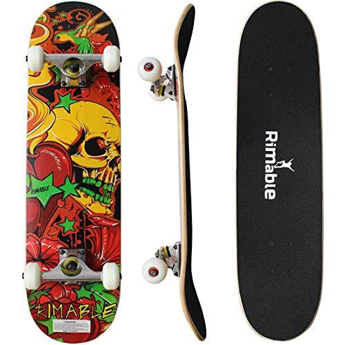 Rimable Complete Maple Skateboard 31 Inch (Love Skull)