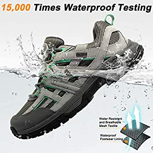 Wantdo Women's Waterproof Hiking Shoes Suede Leather Non-Slip Boots for Outdoor Mountain Trainer Hiking Camping 8 M US Grey Green