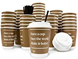 coffee cup caps - Inspirational Paper Coffee Cups with Durable Lids & Stirrers [50pc] | 12oz Eco Friendly, Double Wall, Recyclable, Insulated, Disposable, Modern | Office/To-Go Cups for Hot Beverages
