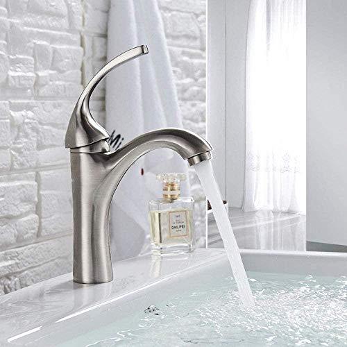 Grifos Grifos Grifo Grifo de níquel cepillado Grifo de agua fría caliente monomando de baño de una sola manija montado en la cubierta 1agujero lavabo lavabo lavabo grifo mezclador grúa