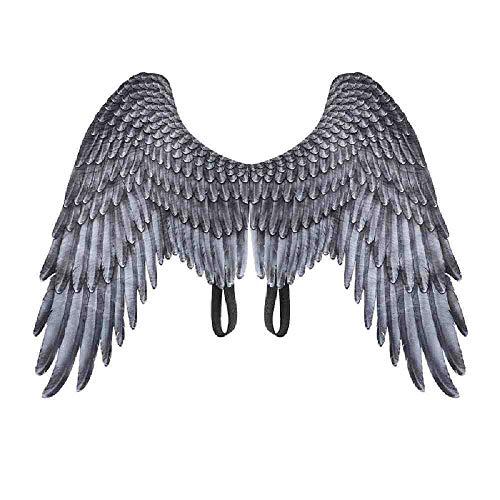 AYLWKS 1 st Mooie Zachte 5-10 Jaar Kinderen Cosplay Kostuum Zwart en Wit Engel Vleugels voor Halloween Kerst Unisex