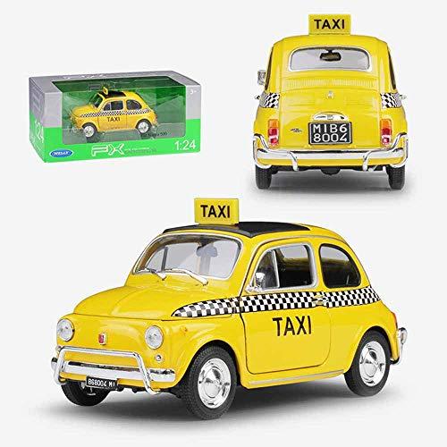 Weaston Nuova Fiat 500 Taxi 1:24 Modelo de aleación Coche de fundición a presión de Metal Miniauto Roadster Colección para Adultos Adornos Decoraciones Juguetes para niños Regalos