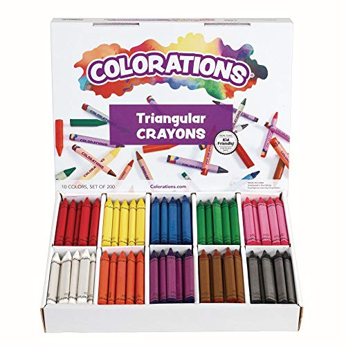 Colorations CLRTRI Large Triangular Crayon Classpack (Pack of 200),Pink