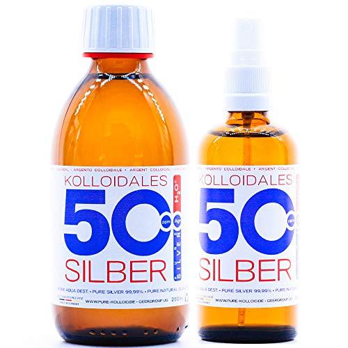 PureSilverH2O - Kolloidales Silber 250ml (10/15/25 oder 50ppm) + Spray (100ml/50ppm) SET (250ml/50ppm & Spray 100ml/50ppm)