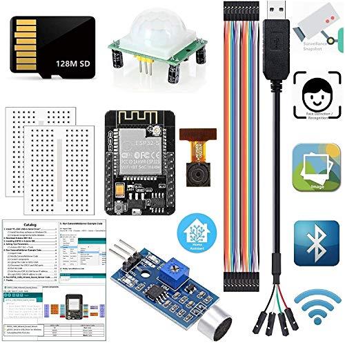 ideaspark ESP32-CAM Kits Arduino Monitor Instantánea Detección de rostros Reconocimiento WiFi Bluetooth Cámara Módulo 128M Tarjeta SD USB a Cable Serie HC-SR501 Sensor de Sonido(Tutorial en in