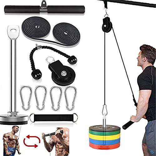 Seilzug Fitness LAT Lift Flaschenzugsystem Professionelle Seilzugmaschine Muskelkraft Fitnessgeräte für Bizeps Curl, Unterarm, Trizeps - Home Gym Ausrüstung (Max Belastung 200 lbs)