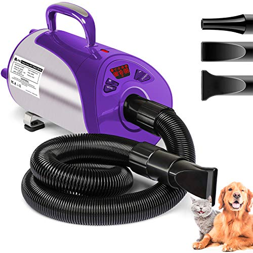 Dog Dryer, Professional Dog Hair Dryer with Led Screen 8 Adjustable Speeds & Temp Dog Blow Dryer High Velocity Low-Noise Pet Hair Force Dryer for Cat...