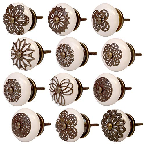 Knober Möbelknöpfe Edel Keramik Weiß Porzellan 40mm Landhausstil Shabby-Chic Schrankknopf Türgriff (06. Antik Set 12 Stück)