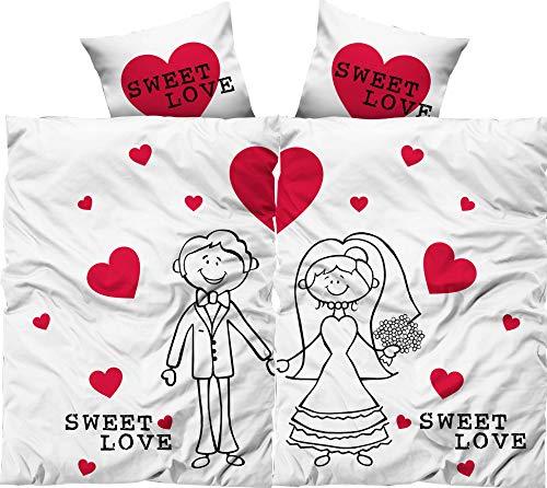 *Leonado Vicenti Bettwäsche 135×200 4teilig weiß rot Herzen Brautpaar Hochzeit mit Fotodruck mit Reißverschluss*