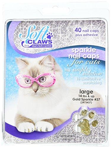 Soft Claws Inc Doux Griffes pour Chats, Grande Taille, Couleur Doré Paillettes