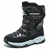 Gubarun Boys Snow Boots Kids Outdoor Warm Shoes Waterproof (Black1, 5.5)