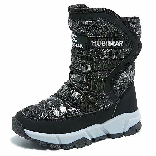 Boys Snow Boots Kids Outdoor Warm Shoes Waterproof (Black1, 3)